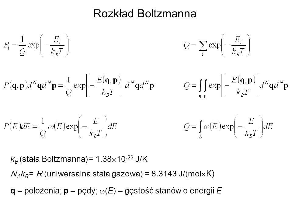 Rozkład Boltzmanna kB (stała Boltzmanna) = 1.38´10-23 J/K