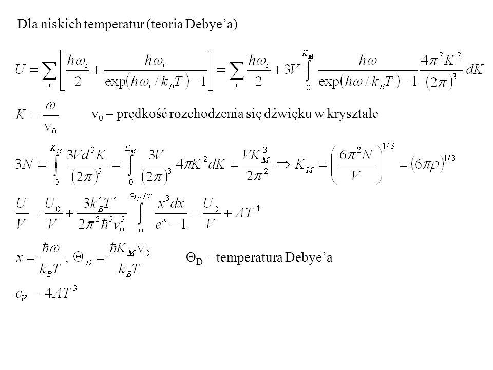 Dla niskich temperatur (teoria Debye'a)