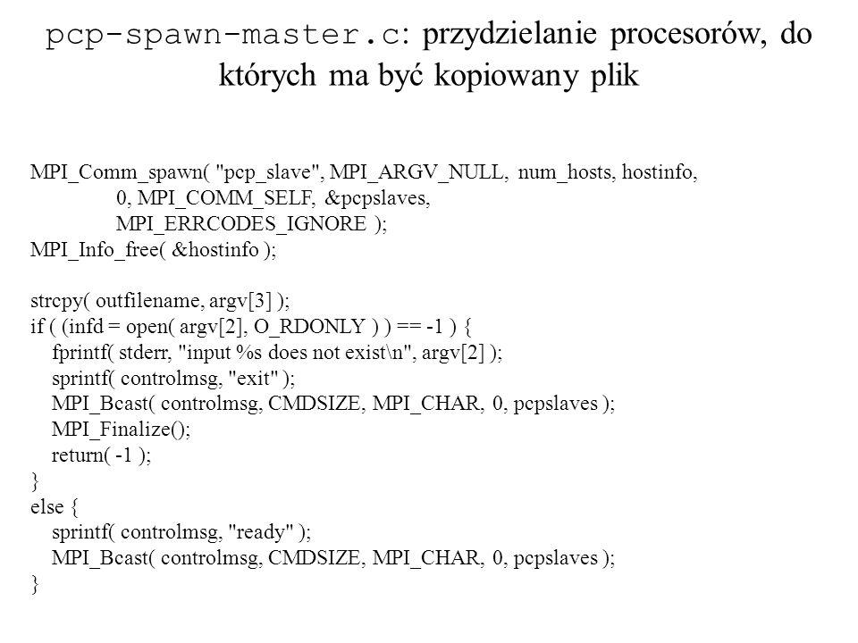 pcp-spawn-master.c: przydzielanie procesorów, do których ma być kopiowany plik