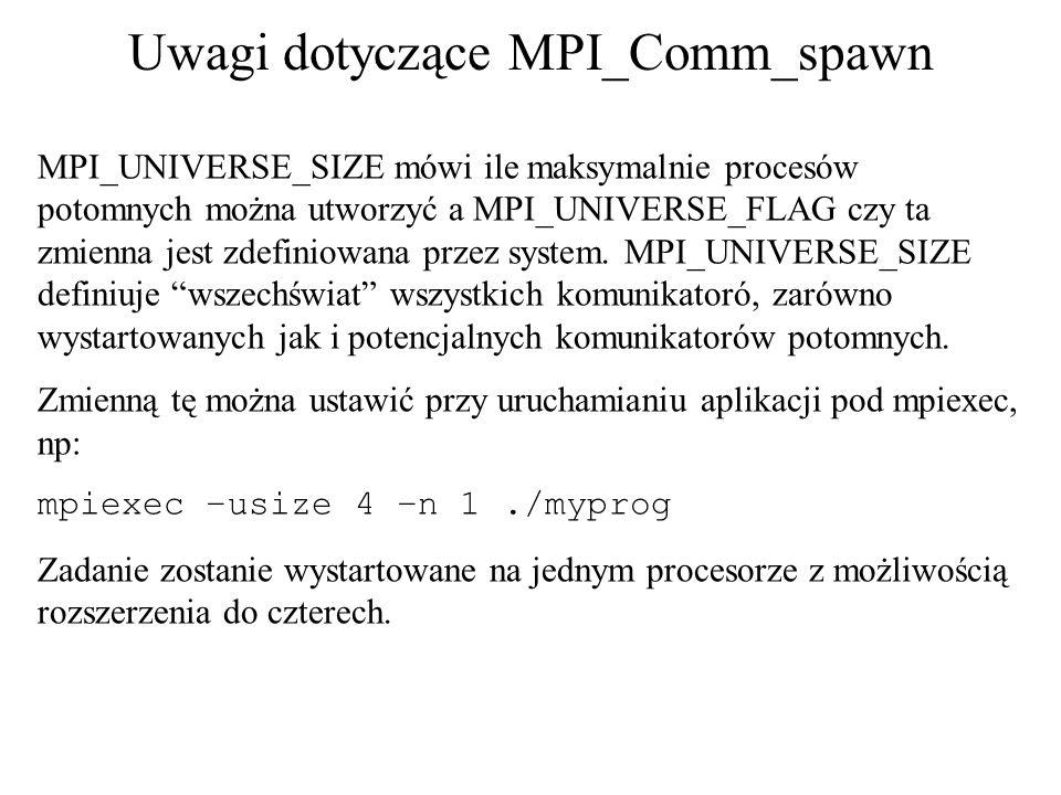 Uwagi dotyczące MPI_Comm_spawn