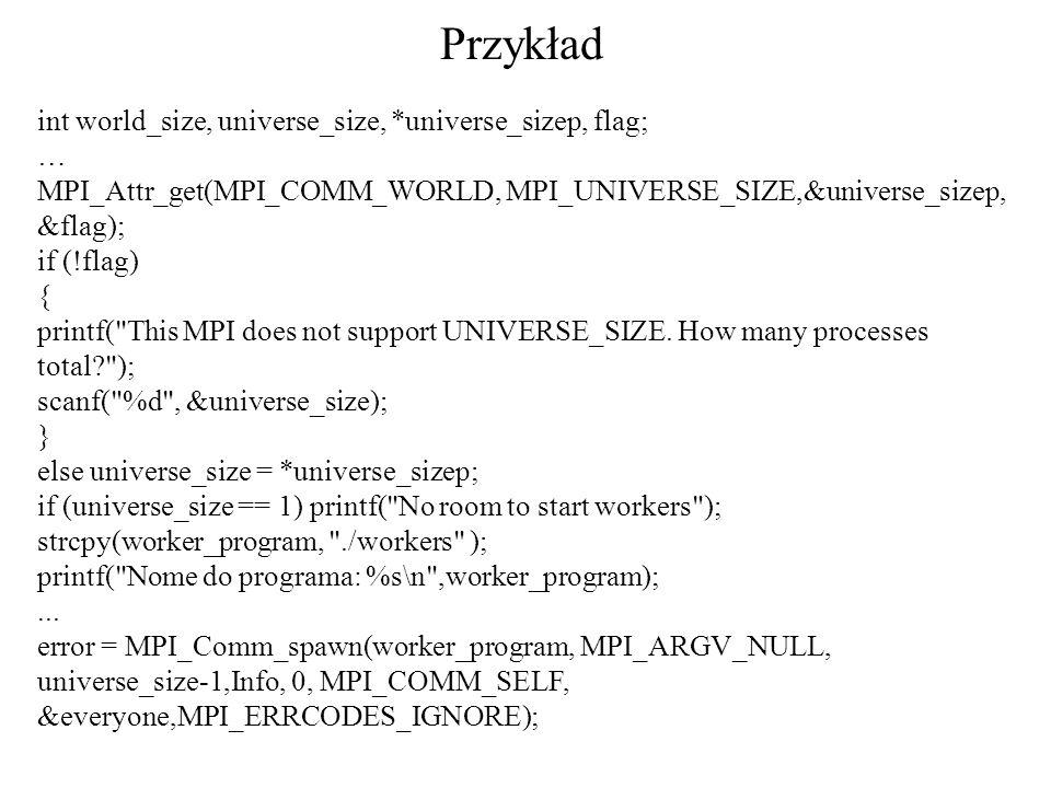 Przykład int world_size, universe_size, *universe_sizep, flag; …
