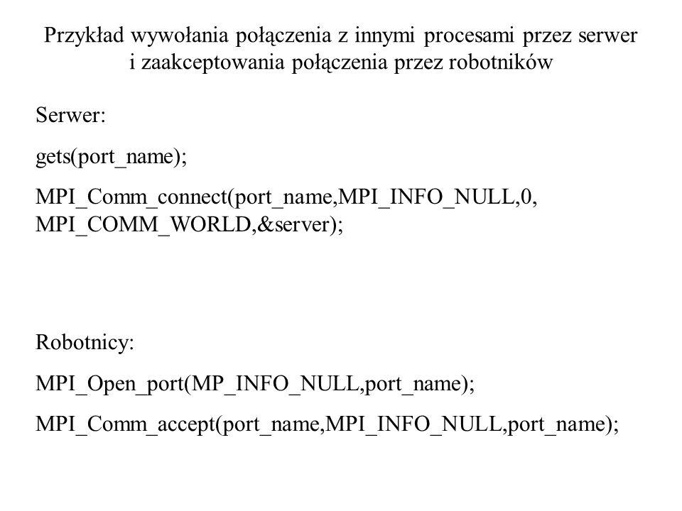 Przykład wywołania połączenia z innymi procesami przez serwer i zaakceptowania połączenia przez robotników