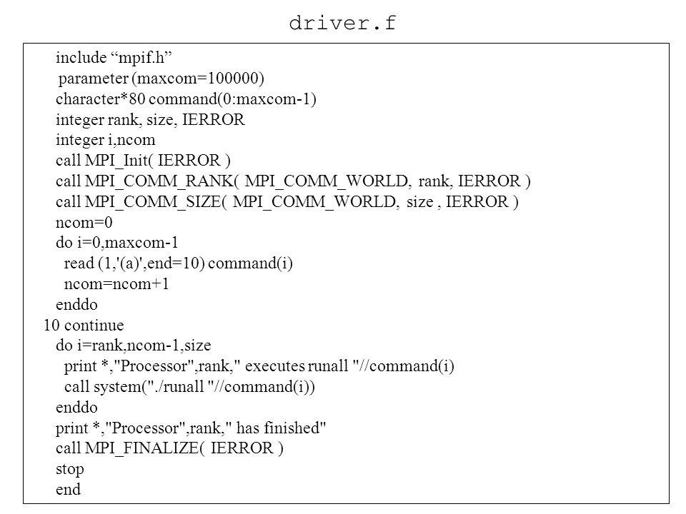 driver.f include mpif.h parameter (maxcom=100000)