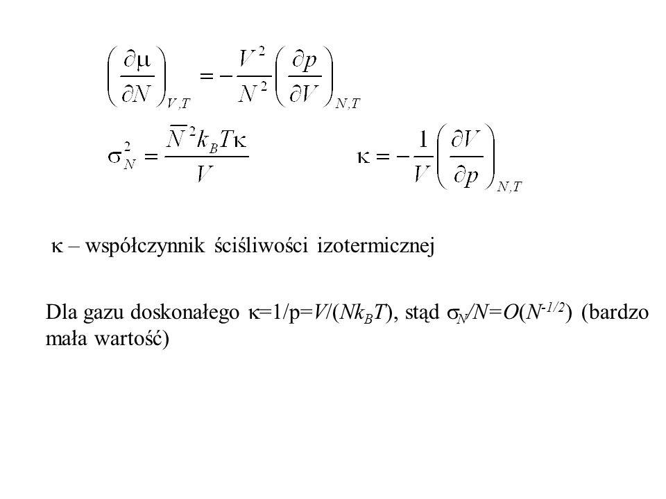 k – współczynnik ściśliwości izotermicznej