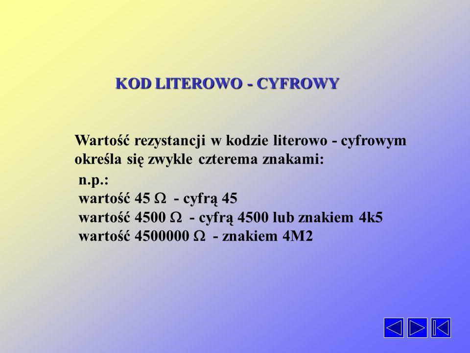 KOD LITEROWO - CYFROWY Wartość rezystancji w kodzie literowo - cyfrowym. określa się zwykle czterema znakami: