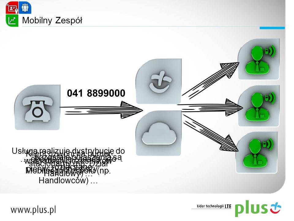 Mobilny Zespół 041 8899000. Usługa realizuje dystrybucję do wszystkich Uczestników Mobilnego Zespołu (np. Handlowców) …