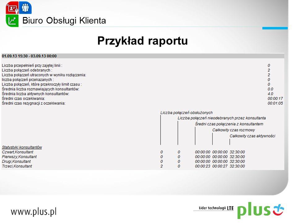 Biuro Obsługi Klienta Przykład raportu