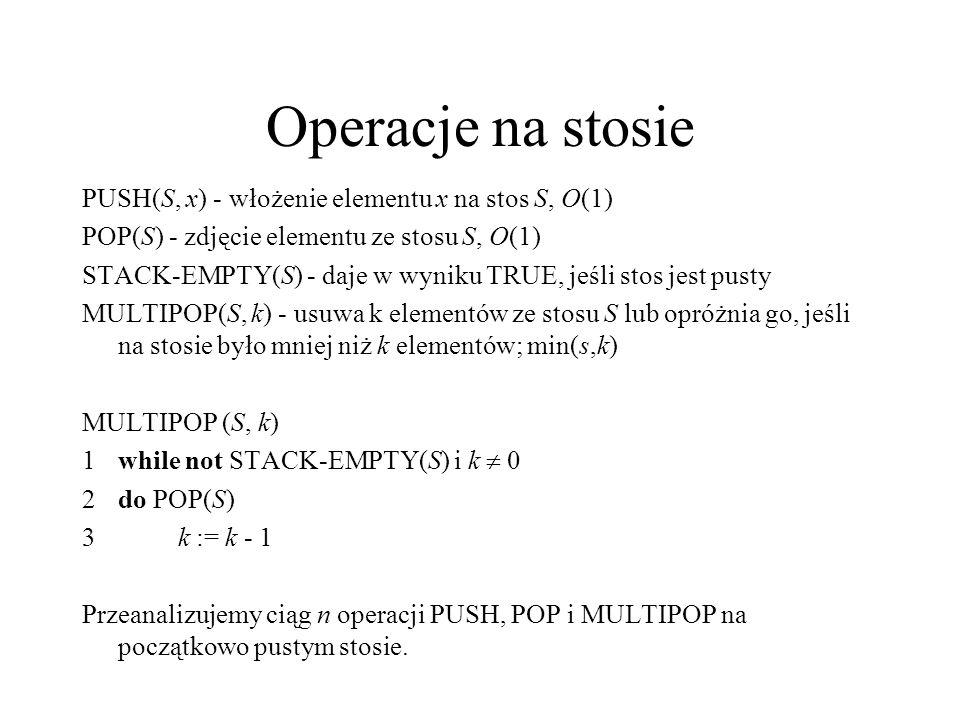 Operacje na stosie PUSH(S, x) - włożenie elementu x na stos S, O(1)
