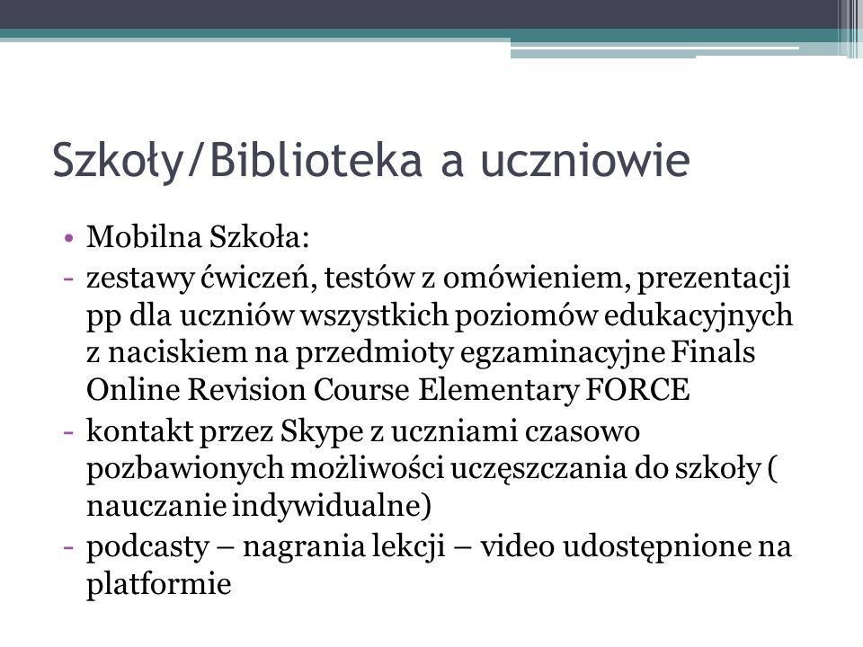 Szkoły/Biblioteka a uczniowie