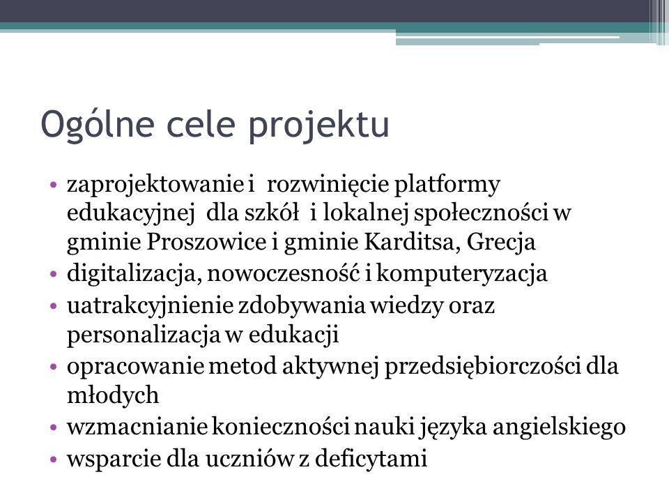 Ogólne cele projektu