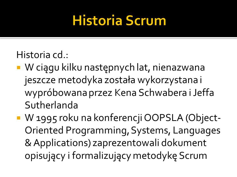 Historia Scrum Historia cd.:
