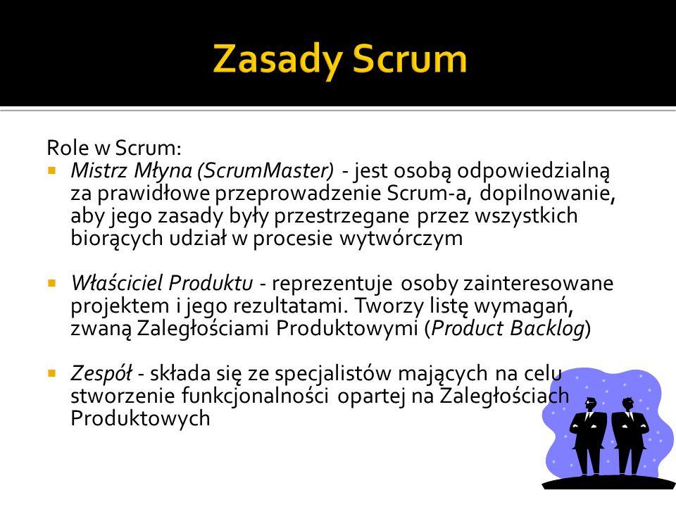 Zasady Scrum Role w Scrum: