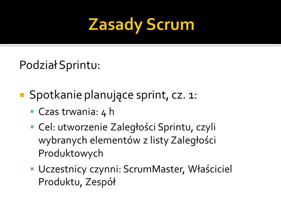Zasady Scrum Podział Sprintu: Spotkanie planujące sprint, cz. 1: