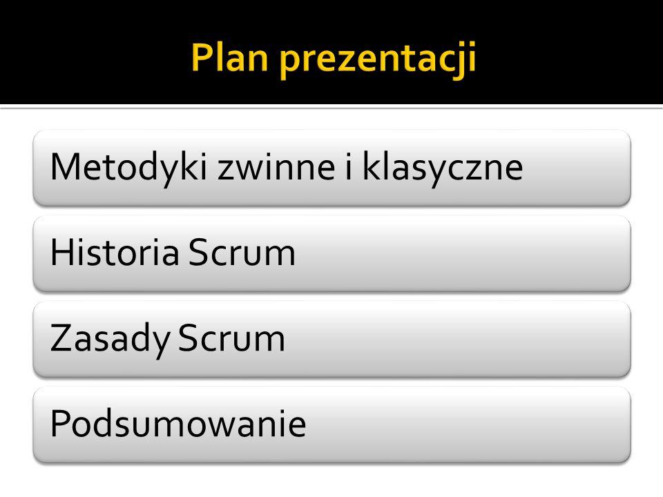 Plan prezentacji Metodyki zwinne i klasyczne Historia Scrum