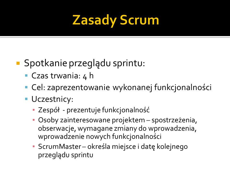 Zasady Scrum Spotkanie przeglądu sprintu: Czas trwania: 4 h