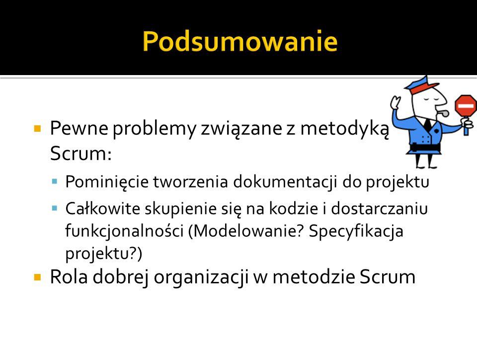 Podsumowanie Pewne problemy związane z metodyką Scrum: