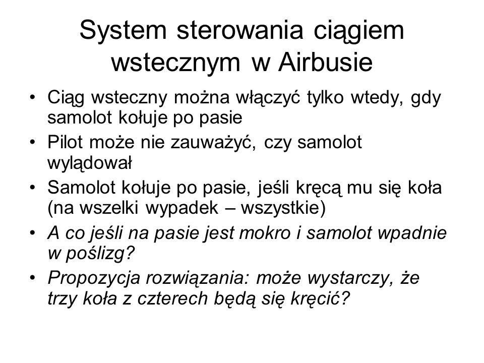 System sterowania ciągiem wstecznym w Airbusie