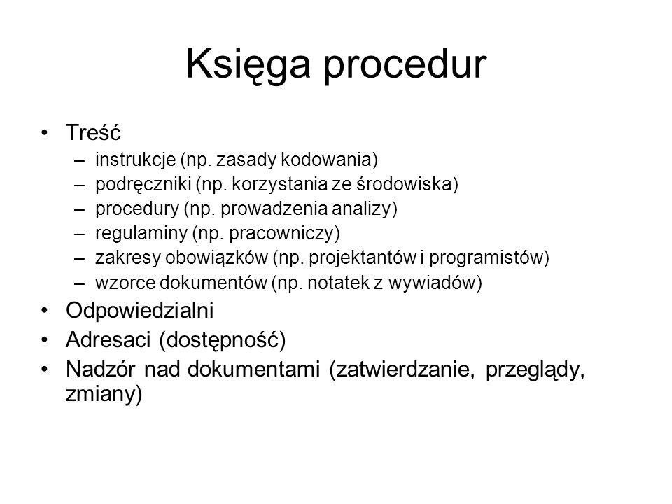 Księga procedur Treść Odpowiedzialni Adresaci (dostępność)