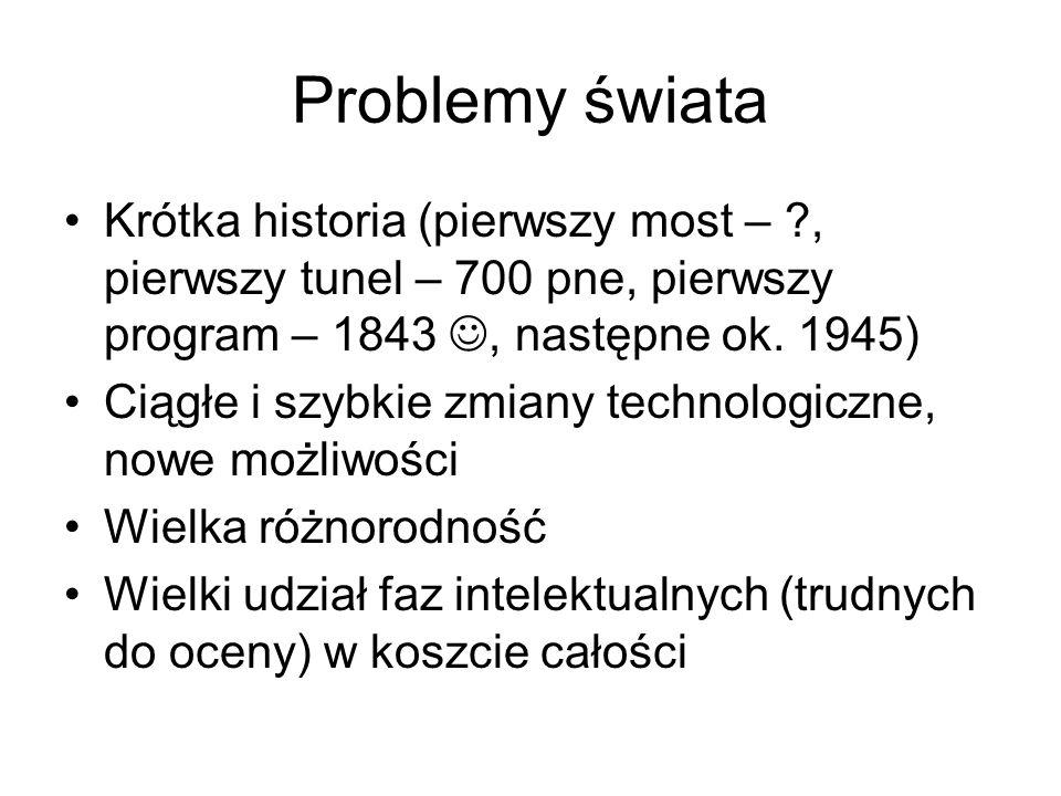 Problemy świata Krótka historia (pierwszy most – , pierwszy tunel – 700 pne, pierwszy program – 1843 , następne ok. 1945)
