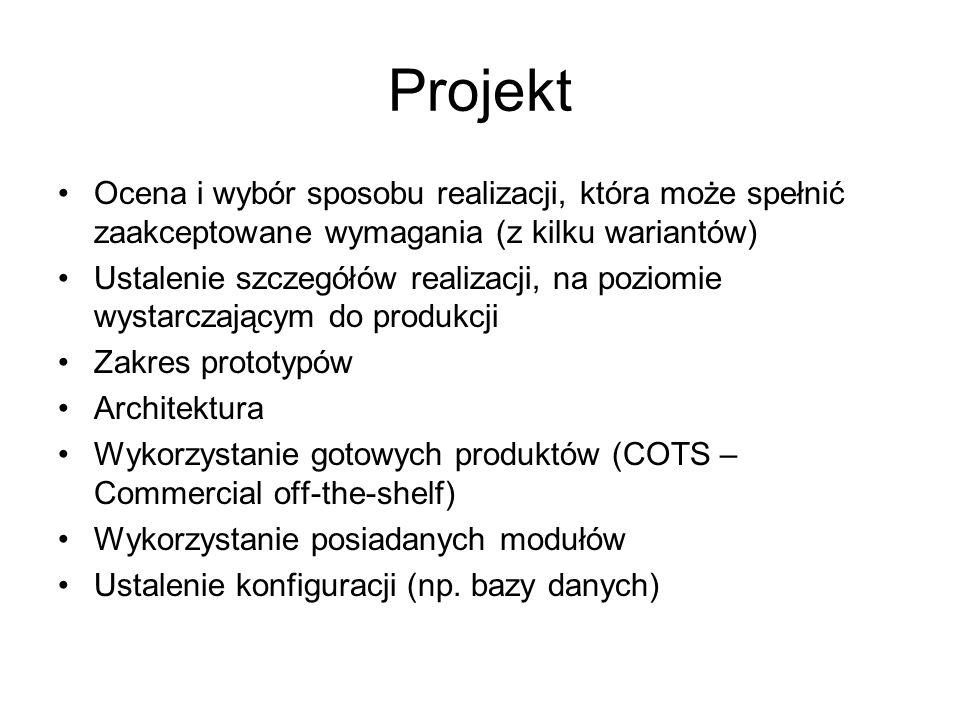 Projekt Ocena i wybór sposobu realizacji, która może spełnić zaakceptowane wymagania (z kilku wariantów)