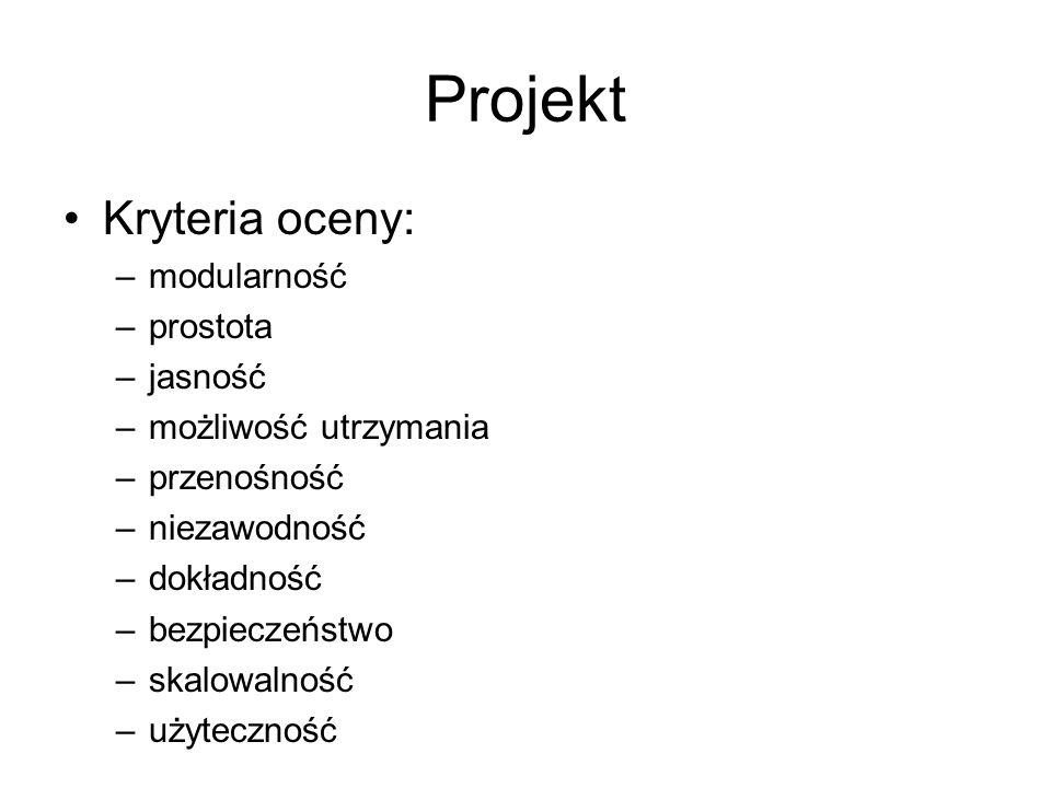 Projekt Kryteria oceny: modularność prostota jasność