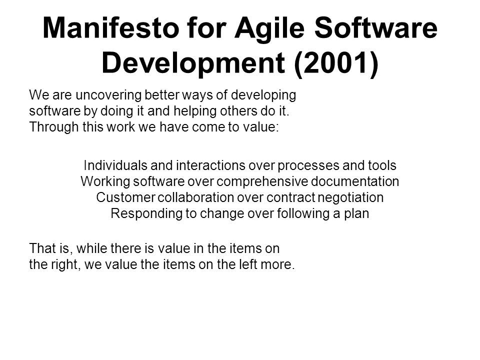 Manifesto for Agile Software Development (2001)