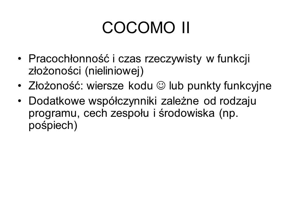 COCOMO II Pracochłonność i czas rzeczywisty w funkcji złożoności (nieliniowej) Złożoność: wiersze kodu  lub punkty funkcyjne.