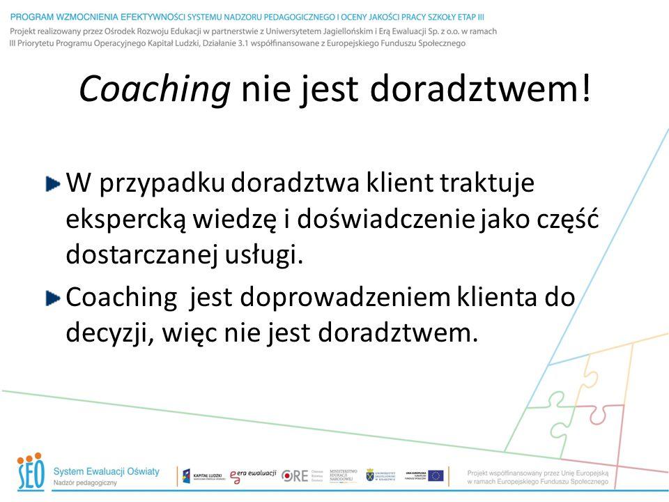 Coaching nie jest doradztwem!
