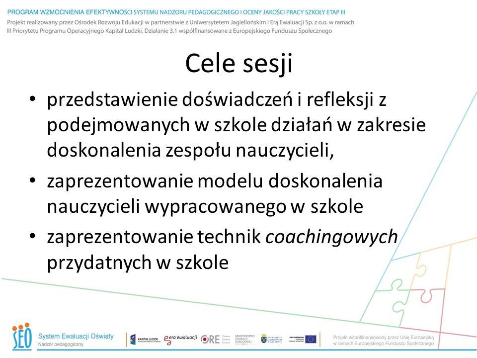 Cele sesji przedstawienie doświadczeń i refleksji z podejmowanych w szkole działań w zakresie doskonalenia zespołu nauczycieli,