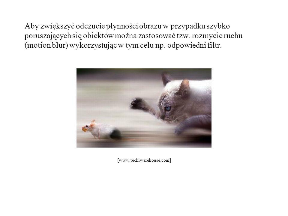 Aby zwiększyć odczucie płynności obrazu w przypadku szybko poruszających się obiektów można zastosować tzw. rozmycie ruchu (motion blur) wykorzystując w tym celu np. odpowiedni filtr.