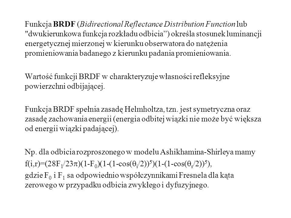 Funkcja BRDF (Bidirectional Reflectance Distribution Function lub dwukierunkowa funkcja rozkładu odbicia ) określa stosunek luminancji energetycznej mierzonej w kierunku obserwatora do natężenia promieniowania badanego z kierunku padania promieniowania.