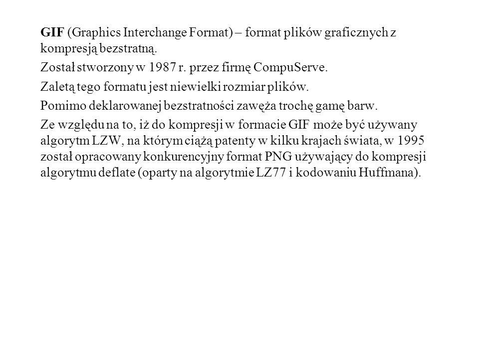 GIF (Graphics Interchange Format) – format plików graficznych z kompresją bezstratną.
