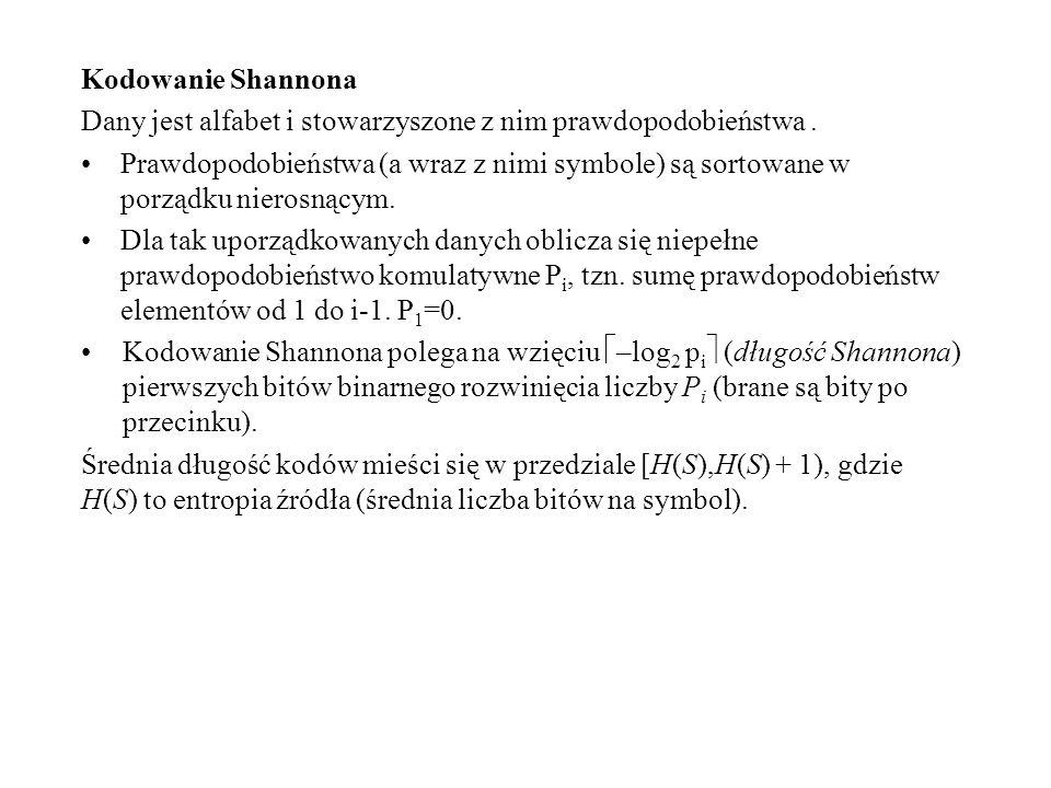 Kodowanie Shannona Dany jest alfabet i stowarzyszone z nim prawdopodobieństwa .