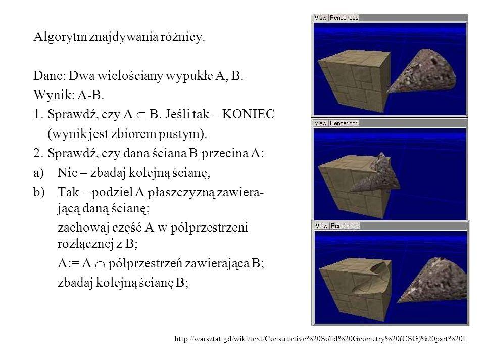 Algorytm znajdywania różnicy. Dane: Dwa wielościany wypukłe A, B.
