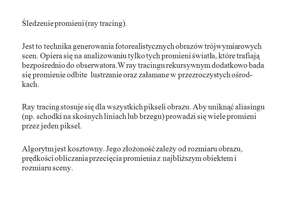 Śledzenie promieni (ray tracing).
