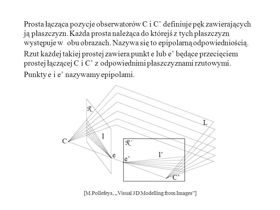 Prosta łącząca pozycje obserwatorów C i C' definiuje pęk zawierających ją płaszczyzn. Każda prosta należąca do którejś z tych płaszczyzn występuje w obu obrazach. Nazywa się to epipolarną odpowiedniością. Rzut każdej takiej prostej zawiera punkt e lub e' będące przecięciem prostej łączącej C i C' z odpowiednimi płaszczyznami rzutowymi. Punkty e i e' nazywamy epipolami.