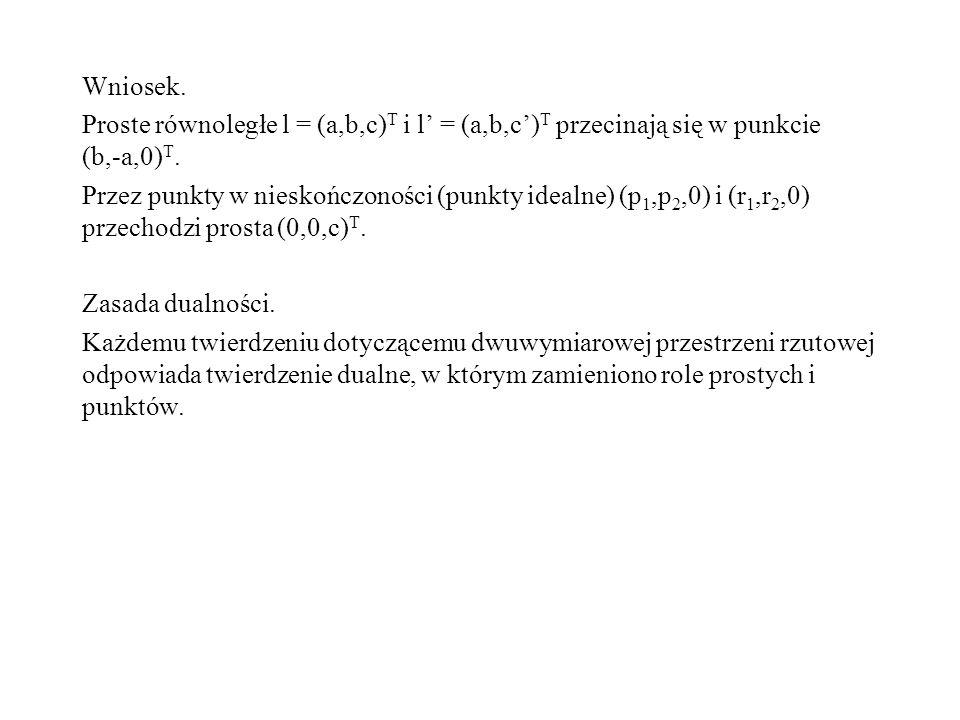 Wniosek. Proste równoległe l = (a,b,c)T i l' = (a,b,c')T przecinają się w punkcie (b,-a,0)T.