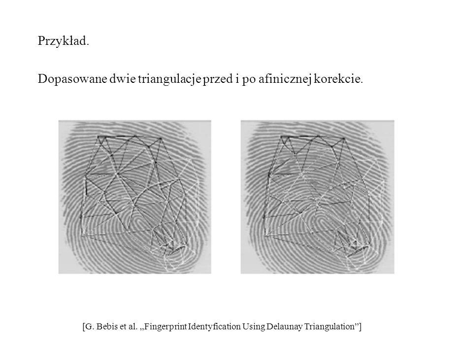 Przykład. Dopasowane dwie triangulacje przed i po afinicznej korekcie.