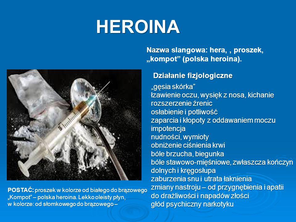 "HEROINA Nazwa slangowa: hera, , proszek, ""kompot (polska heroina)."