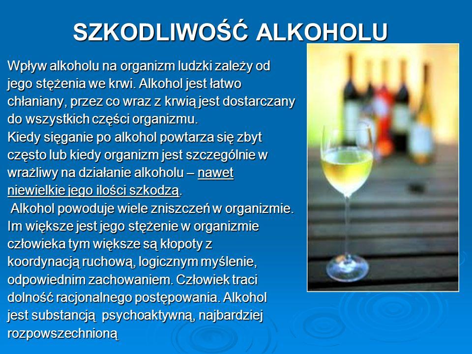 SZKODLIWOŚĆ ALKOHOLU Wpływ alkoholu na organizm ludzki zależy od