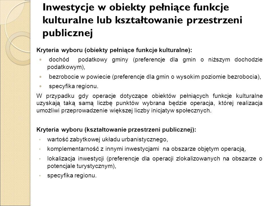 Inwestycje w obiekty pełniące funkcje kulturalne lub kształtowanie przestrzeni publicznej