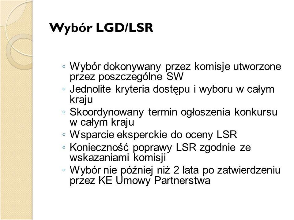 Wybór LGD/LSR Wybór dokonywany przez komisje utworzone przez poszczególne SW. Jednolite kryteria dostępu i wyboru w całym kraju.