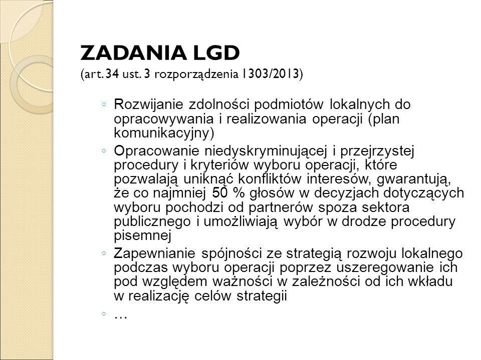 ZADANIA LGD (art. 34 ust. 3 rozporządzenia 1303/2013)