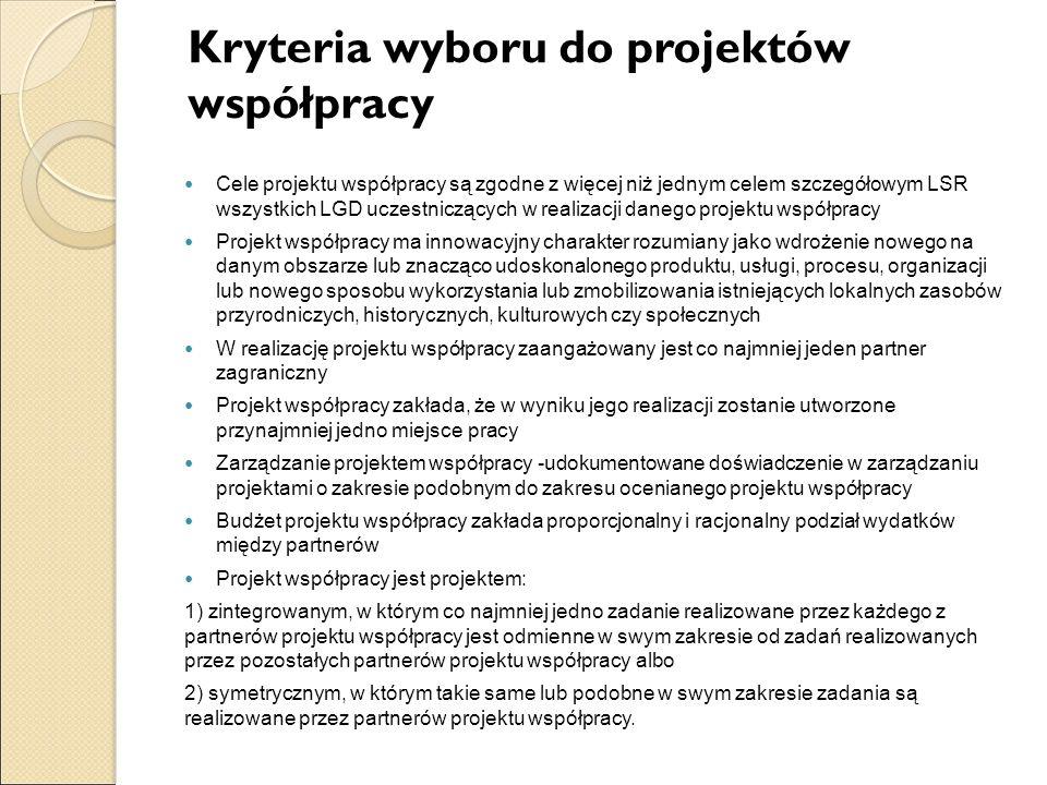 Kryteria wyboru do projektów współpracy