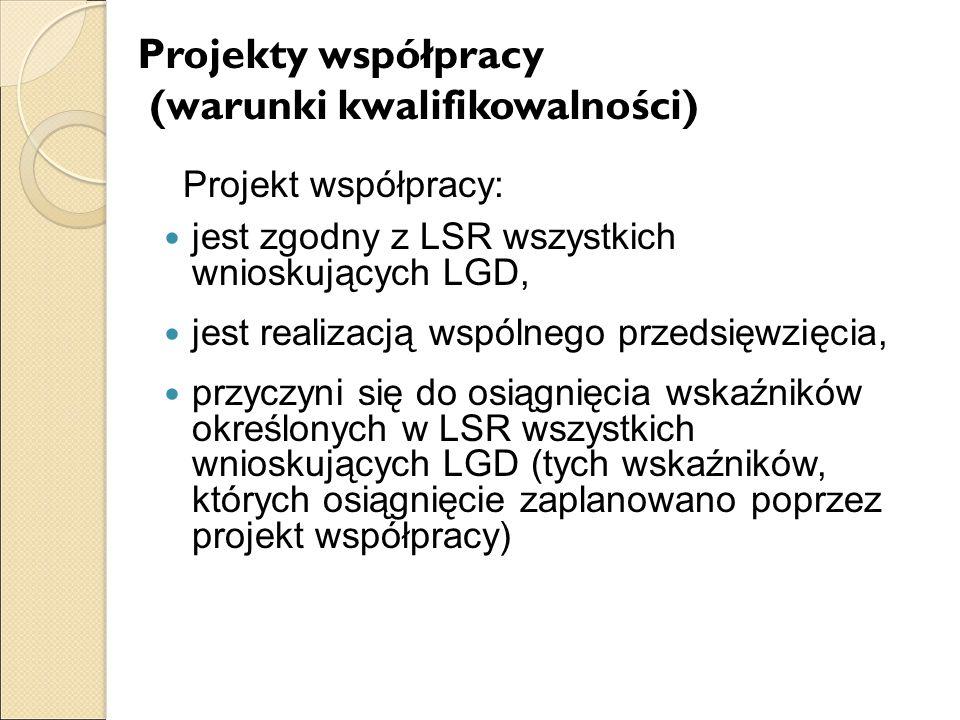 Projekty współpracy (warunki kwalifikowalności)