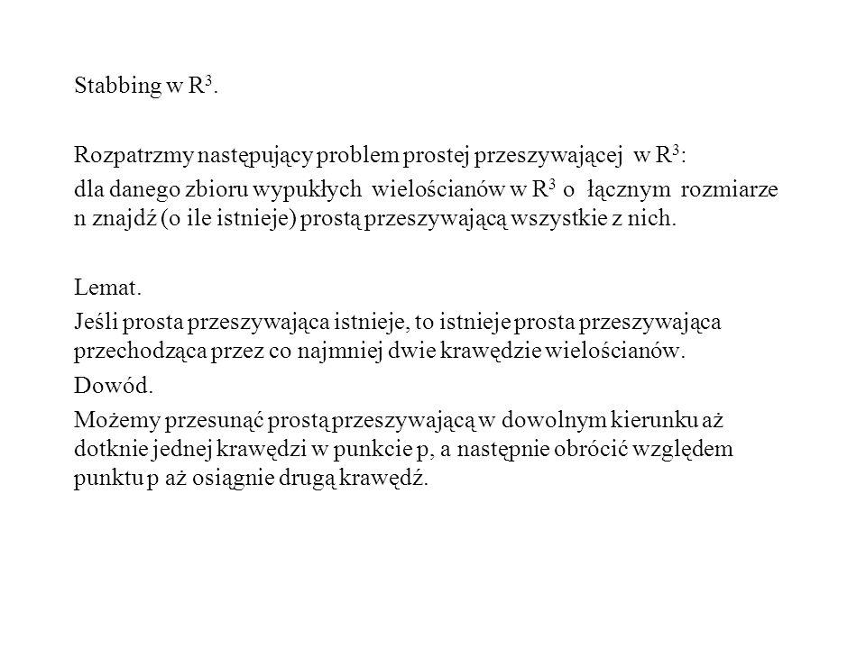 Stabbing w R3. Rozpatrzmy następujący problem prostej przeszywającej w R3: