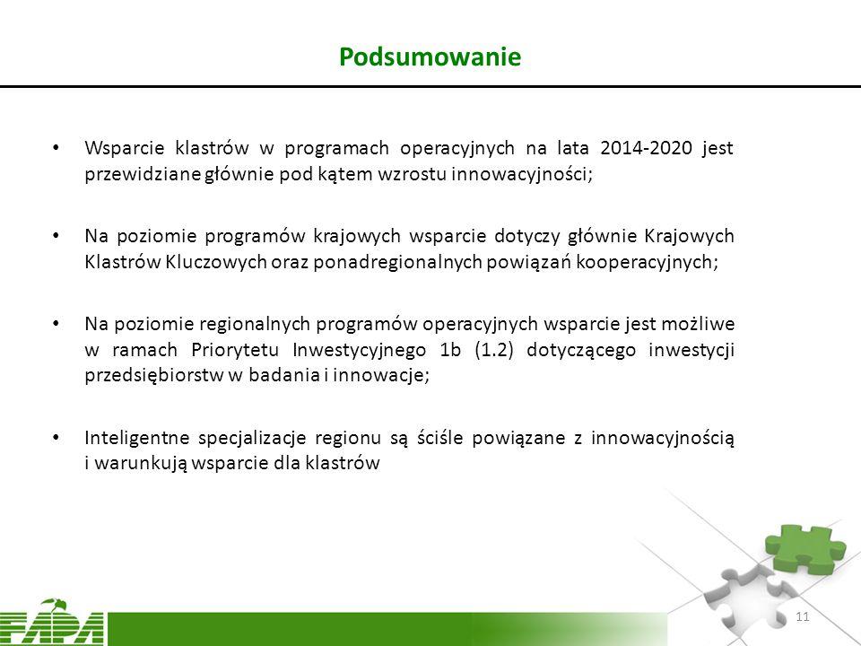 Podsumowanie Wsparcie klastrów w programach operacyjnych na lata 2014-2020 jest przewidziane głównie pod kątem wzrostu innowacyjności;