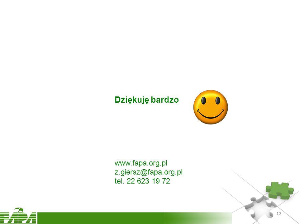 Dziękuję bardzo www.fapa.org.pl z.giersz@fapa.org.pl tel. 22 623 19 72