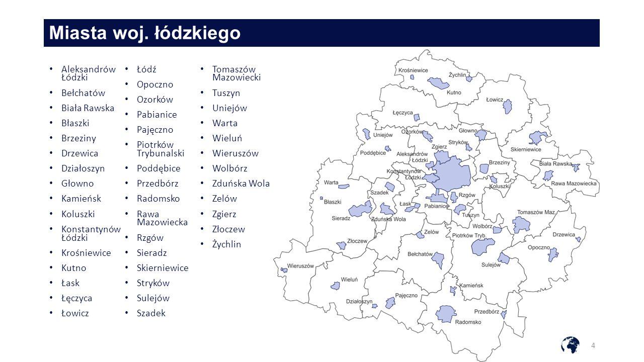 Miasta woj. łódzkiego Aleksandrów Łódzki Łódź Tomaszów Mazowiecki