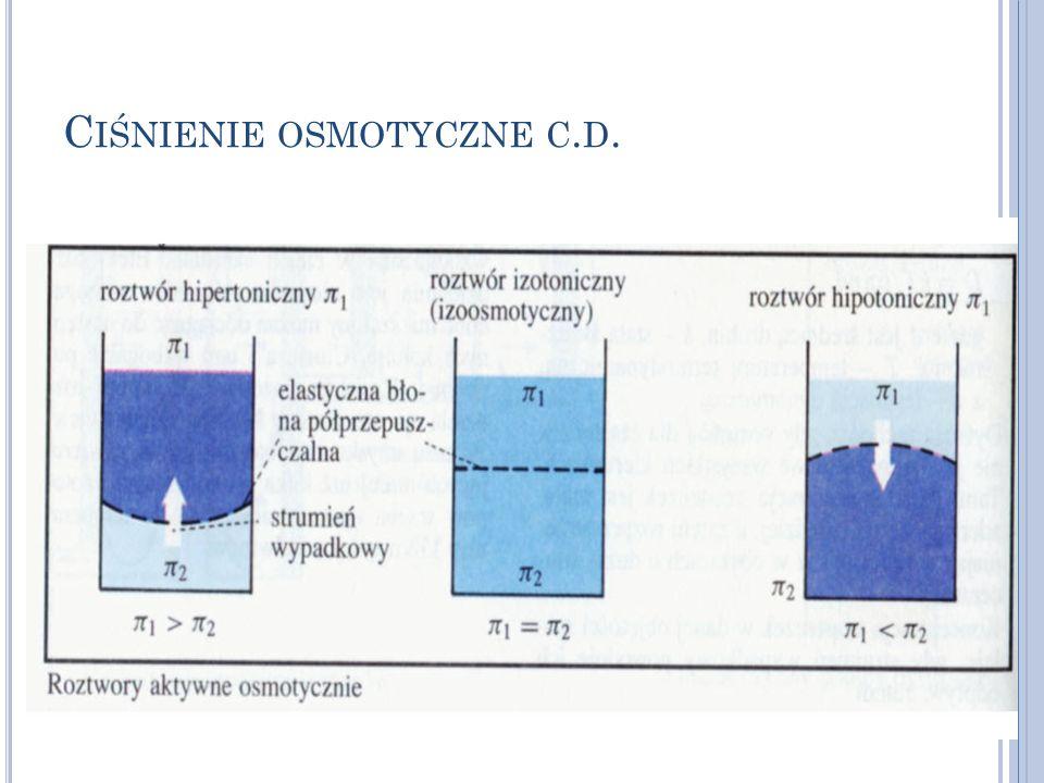 Ciśnienie osmotyczne c.d.